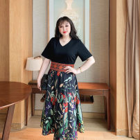 Women's large Summer 2021 black Large XL, large XXL, large XXL, large XXXXL, large XXXXL, large L Dress singleton  commute Self cultivation thin Socket Short sleeve Solid colors, plants, flowers, abstract patterns Simplicity V-neck routine Polyester, cotton Three dimensional cutting Princess sleeve