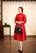 Dress Winter of 2019 Red, black, blue 40. M, l, s, customized extra large and small, free modification, non refundable, XXXL, XXL commute Retro Embroidery