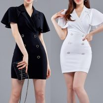 Dress Summer 2020 Black, white S,XL,L,M Middle-skirt singleton  Short sleeve commute tailored collar middle-waisted Solid color Socket One pace skirt other Others 18-24 years old Type X Other / other Ol style printing 81% (inclusive) - 90% (inclusive) other polyester fiber