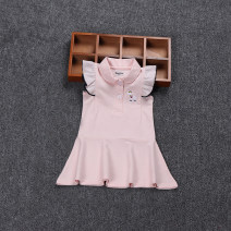 Dress Sapphire, red, pink female Other / other 73cm label 1a, 80cm label 2a, 85CM label 3a, 90cm label 4a, 100cm label 5A Cotton 100% summer motion Short sleeve Solid color cotton Splicing style 12 months, 9 months, 18 months, 2 years, 3 years, 4 years