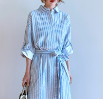 Dress Summer 2020 Blue stripe M, L Mid length dress singleton  three quarter sleeve commute square neck middle-waisted stripe Single breasted other routine Others 25-29 years old Type H Other / other Korean version 81% (inclusive) - 90% (inclusive) other cotton