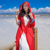 Lace / Chiffon Summer 2021 gules Average size Long sleeves commute Cardigan singleton  Medium length Hood Solid color routine 18-24 years old ethnic style 71% (inclusive) - 80% (inclusive) polyester fiber