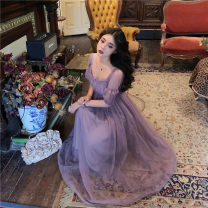 Dress Summer 2021 Dream purple S,M,L longuette singleton  elbow sleeve commute square neck High waist Solid color zipper Princess Dress puff sleeve Others 18-24 years old Type A court 71% (inclusive) - 80% (inclusive) organza  other