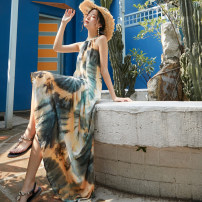 Dress Summer 2021 Decor S,M,L longuette singleton  Sleeveless Sweet Crew neck Loose waist Decor Socket Big swing Hanging neck style 25-29 years old Type A Other / other Hollow out, open back, tie dye 71% (inclusive) - 80% (inclusive) other polyester fiber Bohemia