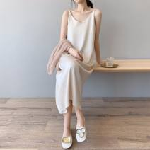 Dress Summer 2021 Apricot, black XL,L,S,M Mid length dress singleton  Sleeveless commute V-neck Loose waist Solid color Socket A-line skirt 18-24 years old Type A Simplicity 31% (inclusive) - 50% (inclusive) Silk and satin Cellulose acetate