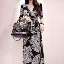 Dress Summer 2021 S,M,L,XL,2XL longuette singleton  elbow sleeve commute V-neck High waist other other A-line skirt routine Others 25-29 years old Type A Other / other Korean version 31% (inclusive) - 50% (inclusive) other nylon