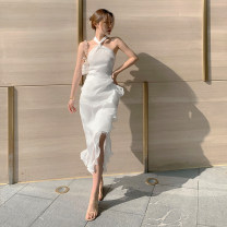 Dress Summer 2021 white S,M,L Mid length dress singleton  commute other High waist Solid color Socket Ruffle Skirt Hanging neck style 18-24 years old T-type Open back, Ruffle 31% (inclusive) - 50% (inclusive) organza  polyester fiber