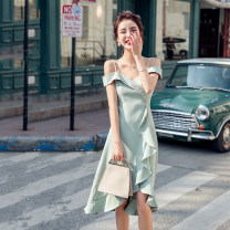 Dress Summer 2021 9182 light green, 9182 leather powder, 9181 leather powder, 9181 ginger yellow, 9145 clear color, 9145 black S,M,L,XL Mid length dress singleton  Short sleeve commute V-neck High waist Solid color Socket Ruffle Skirt camisole 18-24 years old Type A Korean version Lotus leaf edge