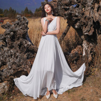 Dress Summer 2021 white S,M,L longuette singleton  Sleeveless Sweet V-neck High waist Solid color zipper Big swing camisole 18-24 years old T-type Pleated, open back, zipper 71% (inclusive) - 80% (inclusive) Chiffon polyester fiber Bohemia