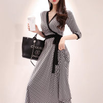 Dress Summer 2021 S,M,L,XL,2XL longuette singleton  elbow sleeve commute V-neck High waist other other Big swing routine Others 25-29 years old Type A Other / other Korean version 31% (inclusive) - 50% (inclusive) other other
