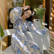 Dress Spring 2021 Picture color S,M,L longuette singleton  Long sleeves commute V-neck High waist Decor Socket Big swing bishop sleeve Others 18-24 years old Type A ethnic style printing 51% (inclusive) - 70% (inclusive) Chiffon polyester fiber