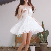 Dress Summer 2021 white S,M,L Short skirt singleton  Sleeveless Sweet V-neck High waist Solid color Socket Princess Dress camisole 25-29 years old Type A Other / other Open back, stitching, mesh 31% (inclusive) - 50% (inclusive) Lace other Bohemia