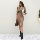 Dress Spring 2021 Khaki, black S,M,L,XL Mid length dress singleton  Long sleeves commute tailored collar High waist Solid color double-breasted One pace skirt routine 25-29 years old Type H Korean version Button 5157# polyester fiber