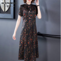Dress Spring 2021 L XL 2XL 3XL 4XL 5XL Mid length dress singleton  Short sleeve commute Loose waist Decor 35-39 years old Imperial dream Retro printing More than 95% other Other 100%