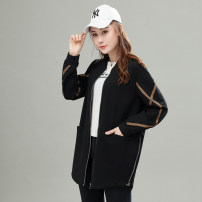 Women's large Autumn of 2019 black XL (recommended weight 120-145), 2XL (recommended weight 145-165), 3XL (recommended weight 165-185), 4XL (recommended weight 185-215) Jacket / jacket singleton  street easy moderate Cardigan Long sleeves Stripe, solid color Crew neck Medium length cotton pocket