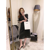 Dress Spring 2021 black M, L longuette singleton  Long sleeves commute Crew neck High waist Solid color Socket A-line skirt puff sleeve Others 25-29 years old Type A Other / other Korean version Pleat, stitching, zipper, lace up