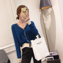Wool knitwear Spring 2021 Average size White, apricot, yellow, blue Long sleeves singleton  Cardigan other 31% (inclusive) - 50% (inclusive) Regular Thin money commute easy V-neck routine Solid color Single breasted Korean version 25-29 years old Other / other Button, button