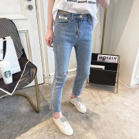 Jeans Spring 2021 blue 30,29,28,27,26 trousers High waist Straight pants routine 25-29 years old Worn, zippers, buttons, multiple pockets, worn Dark color Other / other