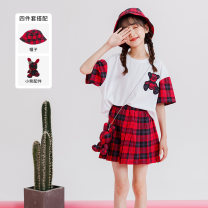 suit Other / other 110cm,120cm,130cm,140cm,150cm,160cm,170cm female summer Korean version Short sleeve + skirt 2 pieces routine There are models in the real shooting Socket nothing lattice blending children Giving presents at school Class B Cotton 95% polyurethane elastic fiber (spandex) 5%
