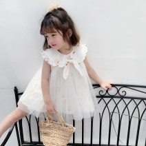 Dress white female Other / other 80cm,90cm,100cm,110cm,120cm,130cm Other 100% summer Korean version cotton BC A265 bow yarn skirt Class B 12 months, 18 months, 2 years old, 3 years old, 4 years old, 5 years old, 6 years old, 7 years old, 8 years old Chinese Mainland Zhejiang Province Huzhou City