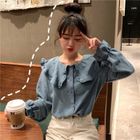 shirt White, blue, yellow Average size Spring 2021 other 96% and above Long sleeves commute Lotus leaf collar Single row multi button puff sleeve Solid color 18-24 years old Straight cylinder Other / other Korean version lym15288