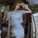 Fashion suit Summer 2021 S. M, average size Off white top, off white skirt, blue top, blue skirt 18-25 years old Other / other ZXJ6113 30% and below