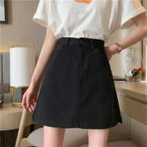 skirt Summer 2021 S,M,L,XL White, black Short skirt Versatile High waist A-line skirt Solid color Type A 18-24 years old kjd22 51% (inclusive) - 70% (inclusive) Denim Other / other pocket