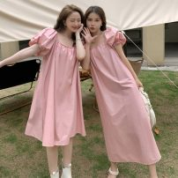 Dress Summer 2021 Black short, black long, pink short, pink long Average size Mid length dress singleton  Short sleeve commute One word collar Loose waist Solid color Socket other routine 18-24 years old Type A Other / other Korean version 51% (inclusive) - 70% (inclusive) other other
