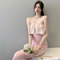 Dress Summer 2021 Pink S, M Mid length dress singleton  Short sleeve commute One word collar middle-waisted Solid color Socket A-line skirt routine Others 18-24 years old Type A Other / other Korean version Lotus leaf edge ZXJ6289 30% and below other other