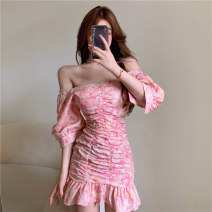 Dress Summer 2021 Picture color Average size Short skirt singleton  Short sleeve V-neck High waist Decor Socket other routine Others 18-24 years old Type H Other / other Lotus leaf edge ZXJ5597 30% and below other other
