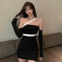 Dress Summer 2021 Picture color Average size Short skirt other Long sleeves One word collar High waist Solid color Socket other routine Others 18-24 years old Type A Other / other lym14686 30% and below other other