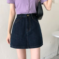 skirt Summer 2021 S,M,L,XL navy blue Short skirt Versatile High waist A-line skirt Solid color Type A 18-24 years old LXJ3961 30% and below other Other / other other