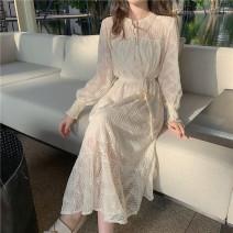 Dress Spring 2021 Apricot Average size (160 / 84A) longuette singleton  Long sleeves commute High waist Ruffle Skirt Others 18-24 years old Type A Korean version Frenulum Z503