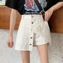 skirt Summer 2021 S,M,L,XL White, black Short skirt Versatile High waist A-line skirt Solid color Type A 18-24 years old lym13481 91% (inclusive) - 95% (inclusive) Denim Other / other