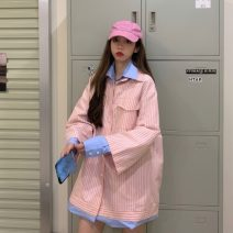shirt Pink and blue Average size Spring 2021 other 51% (inclusive) - 70% (inclusive) Long sleeves commute Medium length Polo collar Single row multi button routine Leopard Print 18-24 years old Straight cylinder Other / other Korean version lym13157
