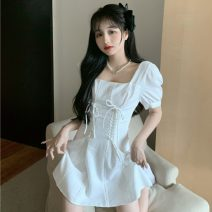 Dress Summer 2021 white S, M Short skirt singleton  Short sleeve Sweet One word collar High waist Solid color Socket other other Others 18-24 years old Type A Other / other Frenulum XJJ2342 30% and below other other