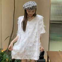Dress Summer 2021 White, black Average size Short skirt singleton  Short sleeve V-neck Loose waist Solid color Socket other other Others 18-24 years old Type H Other / other ZXJ5557 30% and below other other