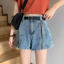 Jeans Spring 2021 Blue, black S,M,L,XL shorts High waist Wide legged trousers routine 18-24 years old Make old