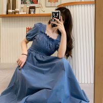 Dress Spring 2021 Light blue, dark blue Average size Middle-skirt singleton  Short sleeve commute Socket 18-24 years old Other / other Korean version lym15008 30% and below