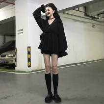 Dress Spring 2021 black Average size (160 / 84A) Short skirt singleton  Long sleeves commute V-neck High waist Solid color Socket A-line skirt bishop sleeve Others 18-24 years old Type A Korean version Pleating, stitching Z602 30% and below other