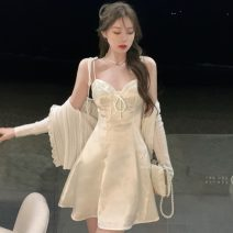 Dress Summer 2021 White, blue S,M,L Short skirt singleton  Sleeveless V-neck High waist Solid color other camisole 18-24 years old Type A Other / other Frenulum ZXJ6158 30% and below other other