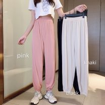 Casual pants Khaki, pink, black M,L,XL,2XL,3XL,4XL Summer 2021 Cropped Trousers Knickerbockers High waist commute Thin money 18-24 years old 96% and above YM6402 Other / other polyester fiber polyester fiber