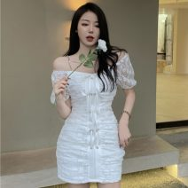 Dress Summer 2021 White, black S, M Short skirt singleton  Short sleeve commute One word collar High waist Solid color Socket A-line skirt other Others 18-24 years old Type A Other / other Korean version Lace, lace XJJ2332 30% and below Lace other
