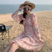 Dress Summer 2021 Decor S, M Short skirt singleton  Long sleeves One word collar High waist Decor Socket other other Others 18-24 years old Type A Other / other Frenulum ZXJ5253 30% and below other other