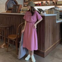 Dress Summer 2021 Black, plum Average size Mid length dress singleton  Short sleeve commute Crew neck Elastic waist letter Socket A-line skirt other Others 18-24 years old Type A Other / other Korean version printing ysg8120 31% (inclusive) - 50% (inclusive) other other