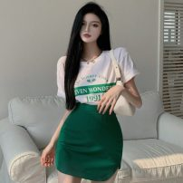 Fashion suit Summer 2021 S. M, average size White top, green skirt 18-25 years old Other / other ZXJ6311 30% and below