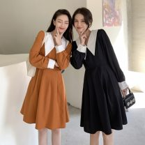 Dress Spring 2021 Black, orange M, L Middle-skirt singleton  Long sleeves commute V-neck High waist Solid color Socket A-line skirt puff sleeve Others 18-24 years old Type A Other / other Korean version lym13368 31% (inclusive) - 50% (inclusive) other polyester fiber