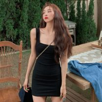 Dress Summer 2021 Gray, blue, black, pink Average size Short skirt singleton  square neck High waist Solid color Socket other camisole 18-24 years old Type A Other / other ysg7799 30% and below other other