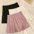 skirt Summer 2021 S,M,L 888 # black, 888 # white, 888 # pink, 888 # gray, 8858 # black, 8858 # apricot, 8858 # blue, 8858 # gray, 8858 # orange, black gray, light gray, pink Short skirt Sweet High waist Pleated skirt Solid color Type A 18-24 years old Z91 Pleated, zipper college
