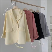 short coat Spring 2021 Average size Temperament black, cheese yellow, ash purple, raspberry powder Long sleeves Medium length singleton  Straight cylinder Sweet Solid color 18-24 years old Other / other 30% and below lym14224